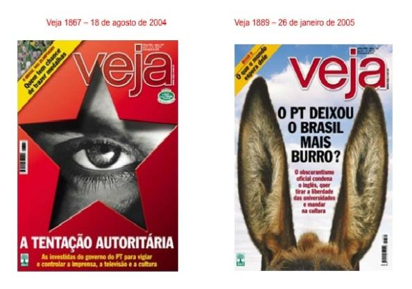 Ambas as capas tentam passar a ideia de que o PT de Lula quer voltar aos tempos de censura e ditadura. Trataram de forma delirante a questão da regulamentação das atividades de comunicação.